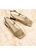 NOOSY Kadın Vizon Hakiki Deri Sandalet