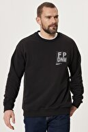 Altınyıldız Classics Erkek Siyah Oversize Günlük Rahat Spor Sweatshirt