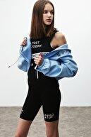 GRIMELANGE SILK Kadın Mavi Fermuarlı Kapüşonlu Sweatshirt