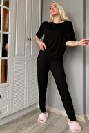 Pijamaevi Kadın Siyah Bisiklet Yaka Örme Kısa Kollu Pijama Takımı