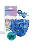 Medizer Mavi Araba Desenli 3 Katlı Meltblown Cerrahi Çocuk Maskesi 10'lu 1 Kutu Telli