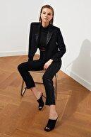 TRENDYOLMİLLA Siyah Şerit Detaylı  Pantolon TPRSS21PL0532