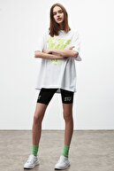GRIMELANGE DREAM Kadın Beyaz Sarı Baskılı Oversize T-shirt