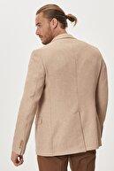 Altınyıldız Classics Erkek Bej Slim Fit Dar Kesim Mono Yaka Blazer Ceket