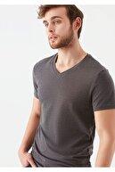 Mavi V Yaka Streç Gri Basic Tişört