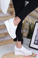 otuzbesshoes Beyaz Bratz Taş Detay Dolgu Topuk Ayakkabı
