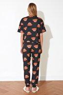 TRENDYOLMİLLA Antrasit Ayıcık Baskılı Örme Pijama Takımı THMSS21PT0195