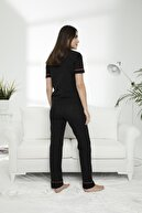 Siyah İnci Pamuklu Likralı Düğmeli Pijama Takım