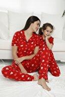 Siyah İnci Kadın Desenli Pamuklu Likralı Düğmeli Pijama Takım