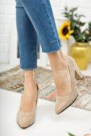 Nirvana ayakkabı Kadın Ten Süet Yüksek Kalın Topuklu Ayakkabı
