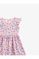Koton Kız Bebek Pembe Kız Baskili Elbise Firfirli Pamuklu