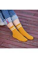 SANUS Kadın 6'lı Karışık Renkli Çizgili Tenis Unisex Çorap Karışık-standart(40-44)