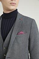 TWN Erkek Antrasit Armürlü Yelekli Takım Elbise