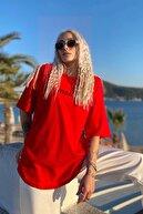 SwistLuxury Kadın  Kırmızı Minimalist Baskılı Bisiklet Yaka Tshirt