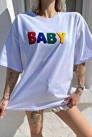 SwistLuxury Kadın Beyaz Baby Baskılı Bisiklet Yaka Tshirt
