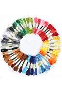 Almila 50 Adet Muline Çapraz 8 Metre 6 Kat Farklı Renk Kanaviçe Nakış Rokoko Ipi