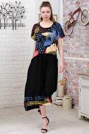 Chiccy Kadın Siyah-Yeşil Sıfır Yaka Fırça Desen Bloklu Gizli Cepli Dokuma Salaş Elbise M10160000EL95534