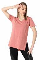 ZİNCiRMODA V Yaka Yanı Yırtmaçlı Salaş T-shirt - Gül Rengi