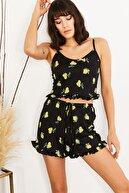 HAKKE Kadın Sarı Askılı Fırfırlı Pijama Takımı