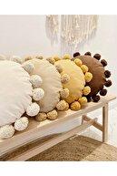 Hestia Home Ponponlu Kırlent Ponpon Yastık Sarı 50 Cm