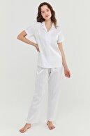 Penti Kadın Optik Beyaz Bridal Satin Gömlek Pijama Takımı