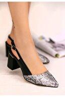 7Erbilden Erno Siyah Cilt Yılan Detaylı Ayakkabı
