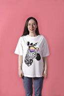 YELLOWSTONE BASİC Beyaz Zebra Baskılı Oversize  Tişört