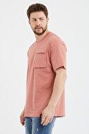 Cocers Erkek Somon Oversize Körük Cepli T-shirt