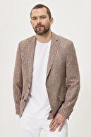 Altınyıldız Classics Erkek KARAMEL Slim Fit Dar Kesim Mono Yaka Desenli Casual Ceket