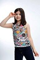 Stiloda Kız Çocuk Beyaz Elbise Batik Sıfır Kol Pis Dikiş T-shirt