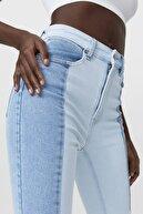 Stradivarius Kadın Açık Mavi İki Renkli Slim Fit Jean 01468610