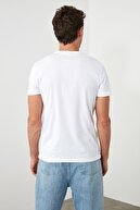 sevdalı Erkek Beyaz Basic Pamuk Bisiklet Yaka T-shirt
