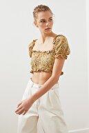 TRENDYOLMİLLA Sarı Crop Bluz TWOSS21BZ0696