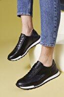 Ziya , Erkek Hakiki Deri Sneaker 11171 241 2 Sıyah
