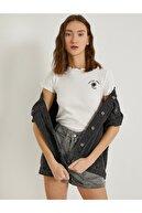 Koton Kadın Ekru Baskılı Kısa Kollu Pamuklu T-Shirt