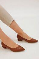 Marjin Kadın Camel Günlük Klasik Topuklu Ayakkabı Evara