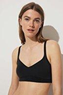 Oysho Kadın Siyah Çıkarılabilir Cuplı Pamuklu Comfort Top