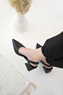 Straswans Kadın Siyah Deri Topuklu Ayakkabı