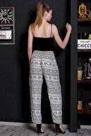 Chiccy Kadın Beyaz Fil Desenli Cep Detaylı Dokuma Pantolon M10060000PN98902