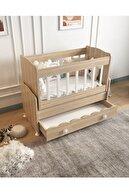 Aktehome Çekmeceli Sallanır Anne Yanı Ahşap Bebek Beşiği Sonomo