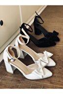 Stepsup Store Beyaz Fiyonklu Topuklu Ayakkabı