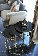 HAUSEV Gold Metal Zigon Sehpa ''kırılmaz Siyah Cam ''