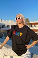 SwistLuxury Kadın Siyah Baby Baskılı Bisiklet Yaka T-Shirt