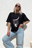 SwistLuxury Kadın Siyah Astronot Baskılı Bisiklet Yaka T -Shirt