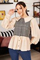 armonika Kadın Bej Önü Ve Arkası Kareli Yakalı Gömlek ARM-21K001177