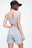 Trend Alaçatı Stili Kadın Grimelanj Pamuklu Bermuda Şort ALC-X6028
