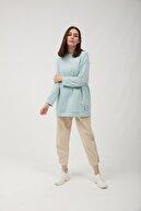 oia Kadın  Bebe Mavi Uzun Basic Sweat Tunik W-0162