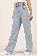 its basic Kadın Kot Rengi Wide Leg Kalıp Beli Lastikli Yüksel Bel Jeans