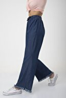MD trend Kadın Lacivert Bel Lastikli Bol Paça Rahat Kalıp Jean Kot Pantolon