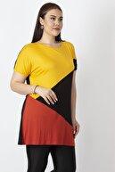 Şans Kadın Sarı Renk Kombinli Viskon Tunik 65N22938